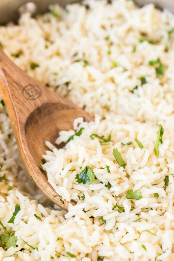 spoon in cilantro lime rice