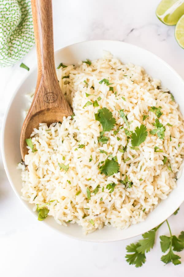 up close image of cilantro lime rice in bowl