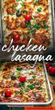white chicken caprese lasagna pinterest collage