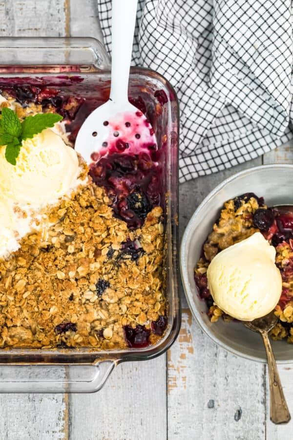 berry crisp in baking dish