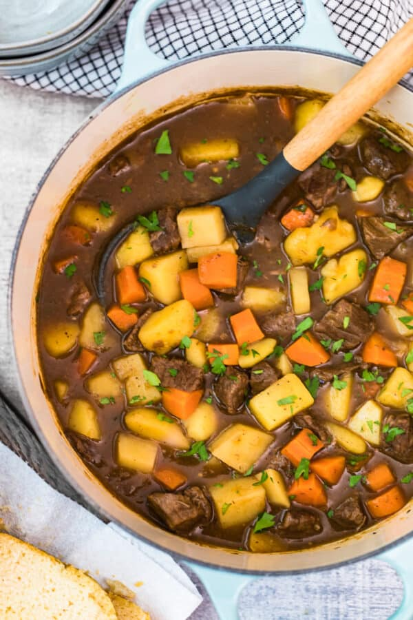 dutch oven with beef stew