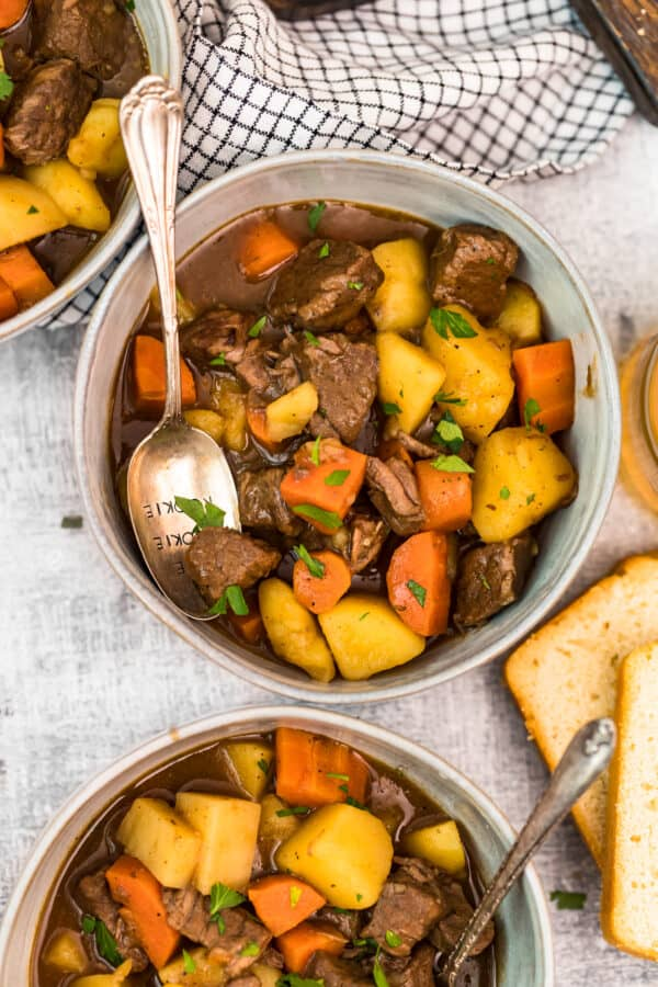 overhead shot of  stew with potatoes and carrots