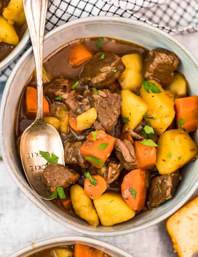 close up picture of beef stew in bowl