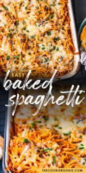 baked spaghetti pinterest collage
