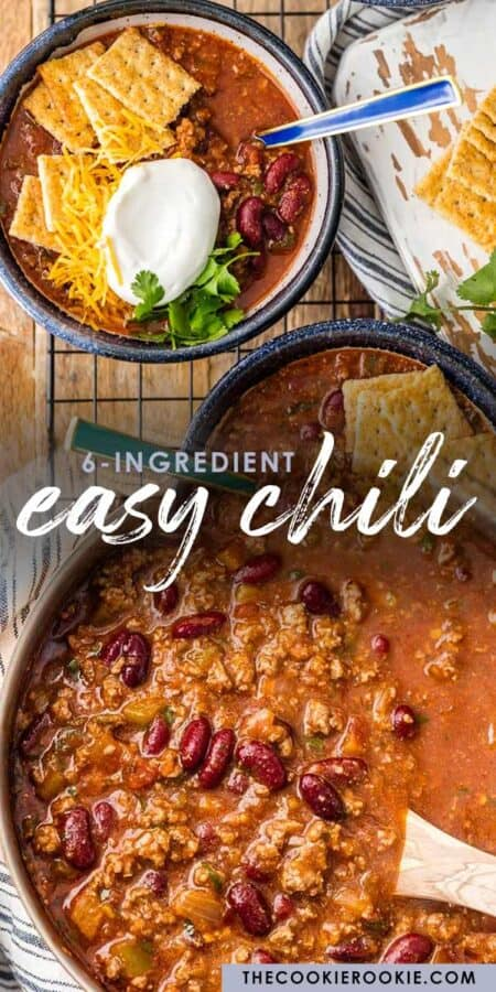 easy chili 6 ingredients pinterest collage