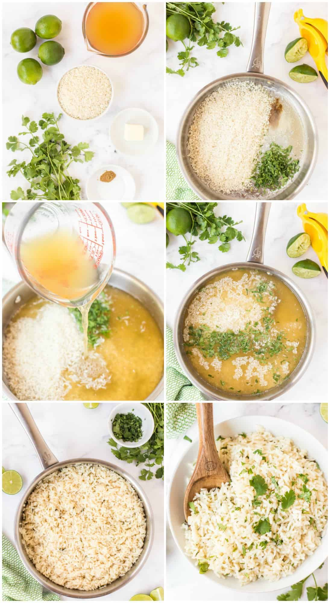 step by step photos of how to make cilantro rice