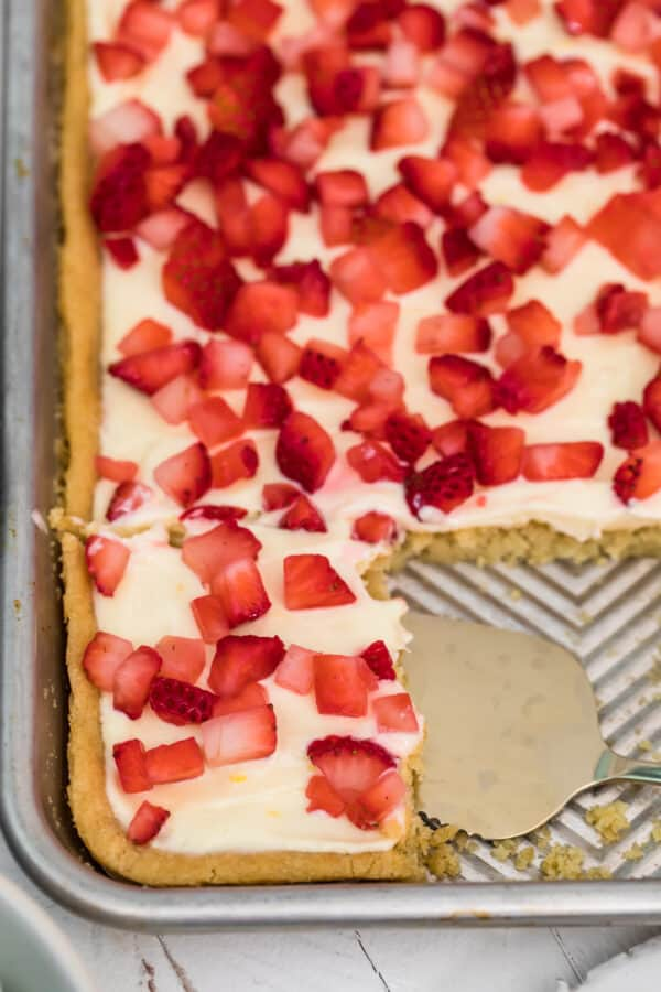 up close image of strawberry bars in pan