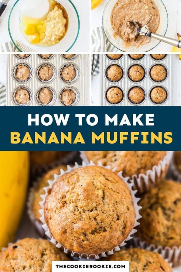 banana muffins pinterest collage