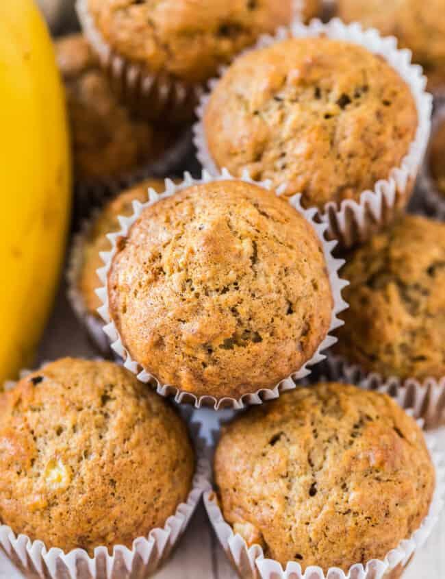 overhead image of banana muffins