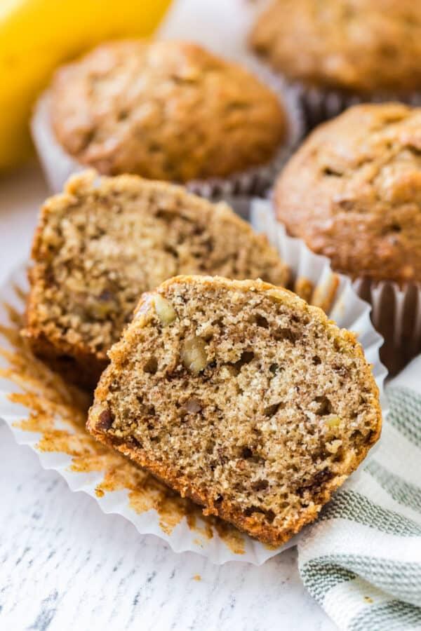 open shot of banana muffin