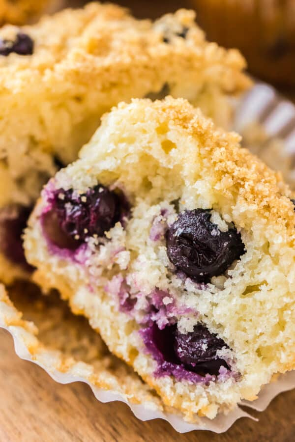 up close image of blueberry muffin cut in half