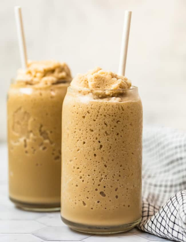 keto coffee smoothie in two glasses with straws