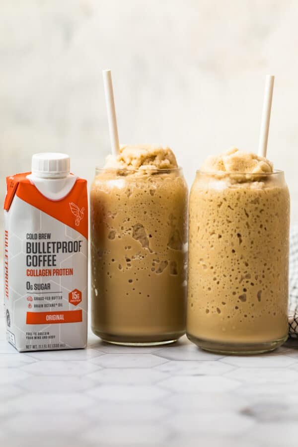 bulletproof coffee smoothies next to cold brew