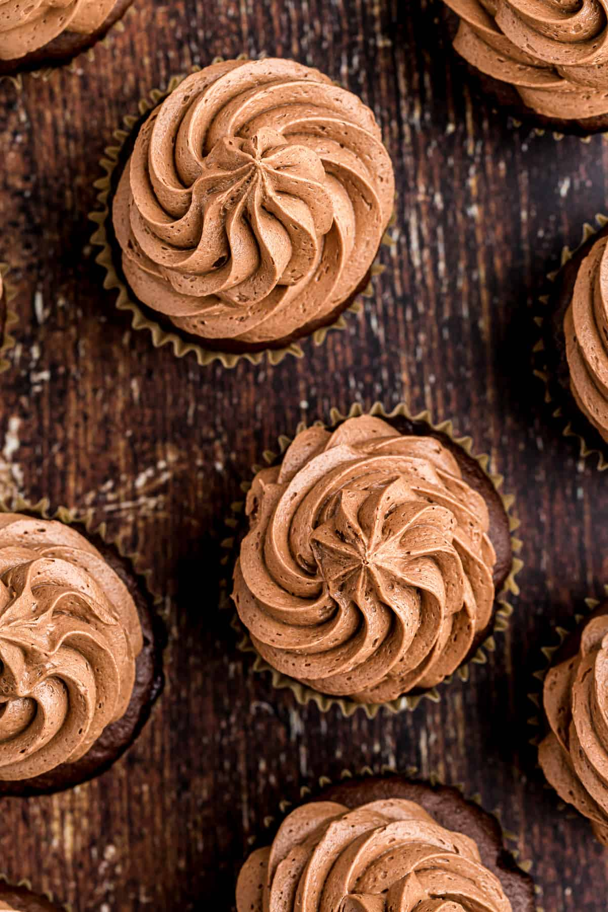overhead image of chocolate buttercream icing on cupcakes