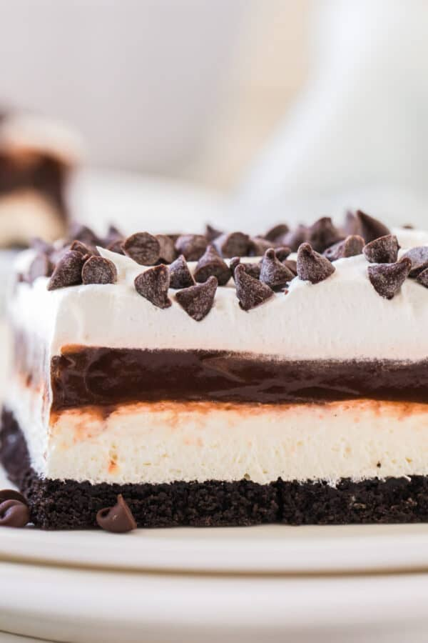 chocolate lasagna on plate showing dessert layers