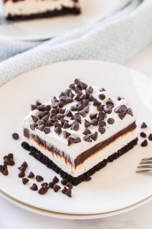slice of chocolate lasagna on white plate