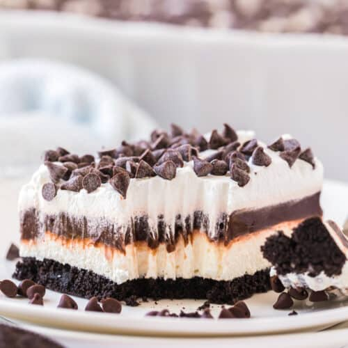 bite out of chocolate lasagna