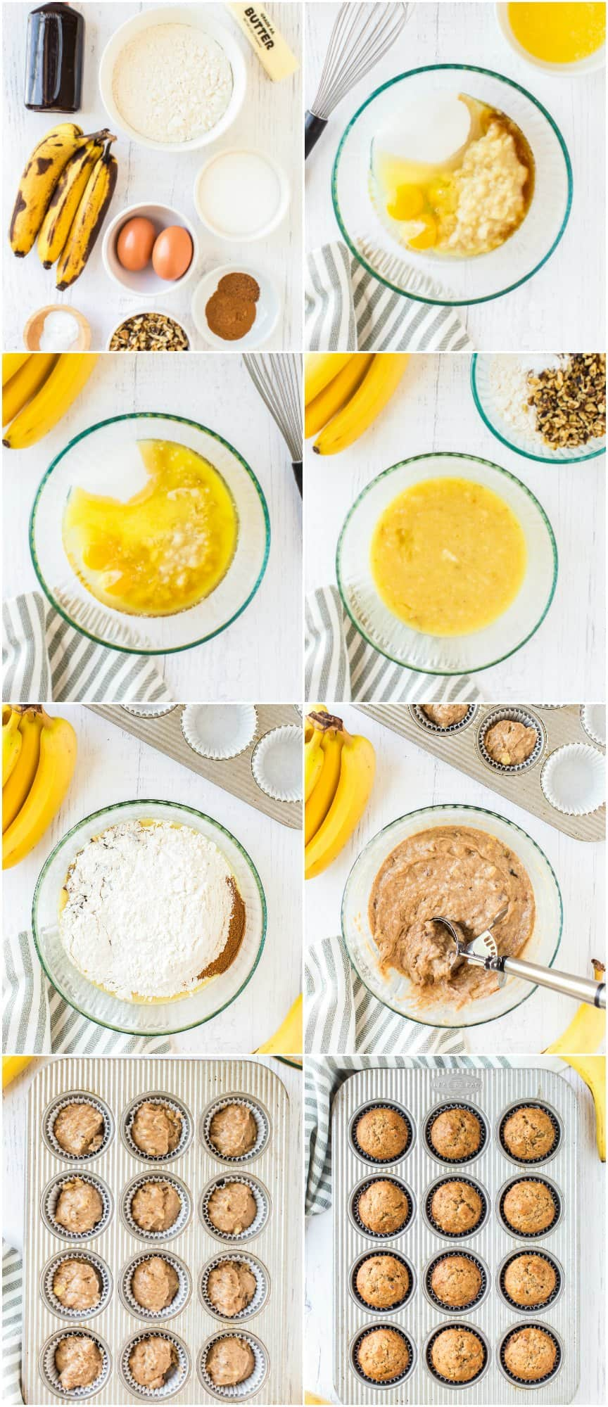step by step photos of how to make banana muffins