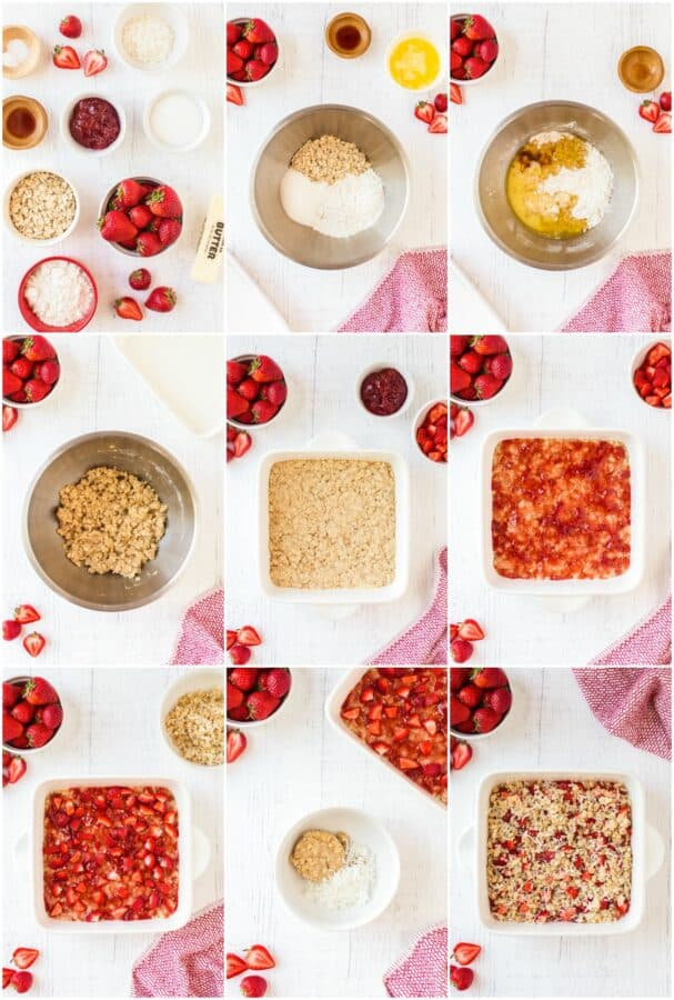 step by step photos of how to make strawberry oatmeal bars