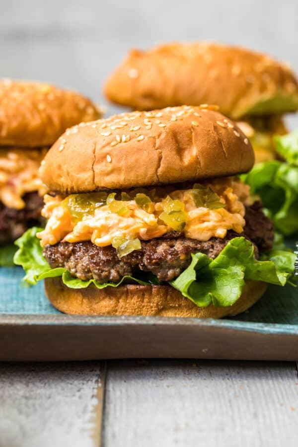 up close image of pimento cheeseburger