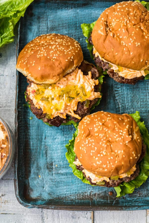 overhead image of cheeseburgers made with pimento cheese