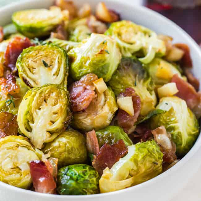 maple bacon brussels sprouts in white bowl