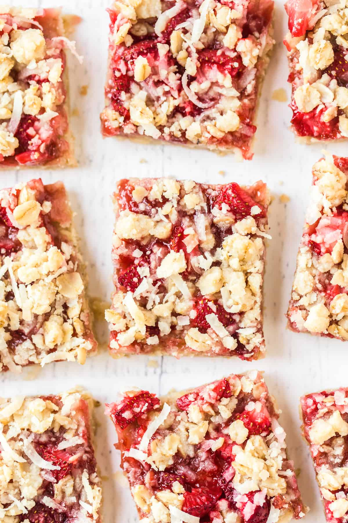 overhead image of strawberry oatmeal bars