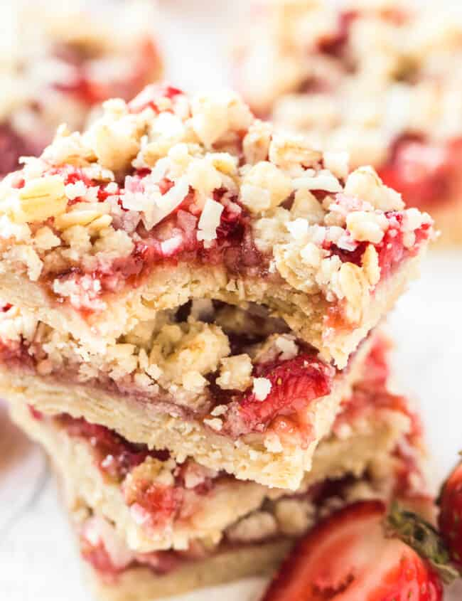stacked strawberry oatmeal bars