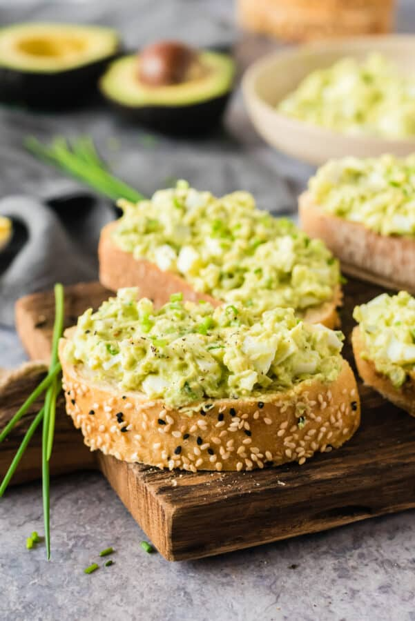 avocado egg salad spread on toast