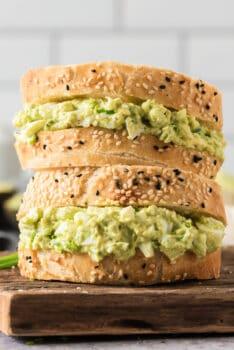 stacked avocado egg salad sandwiches
