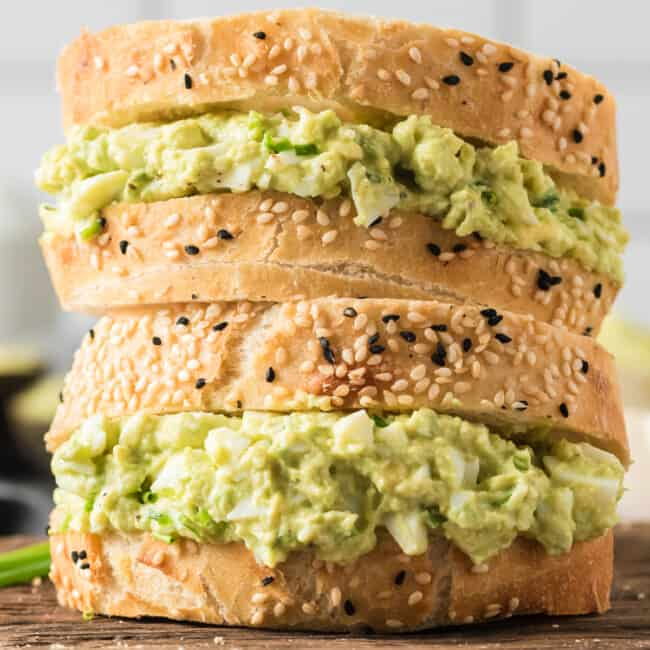 stacked avocado egg salad sandwiches