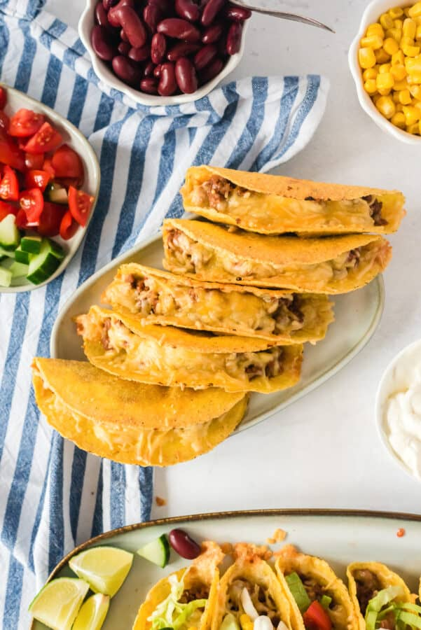 beef tacos on platter