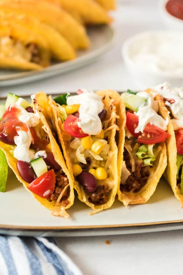 garnished beef tacos