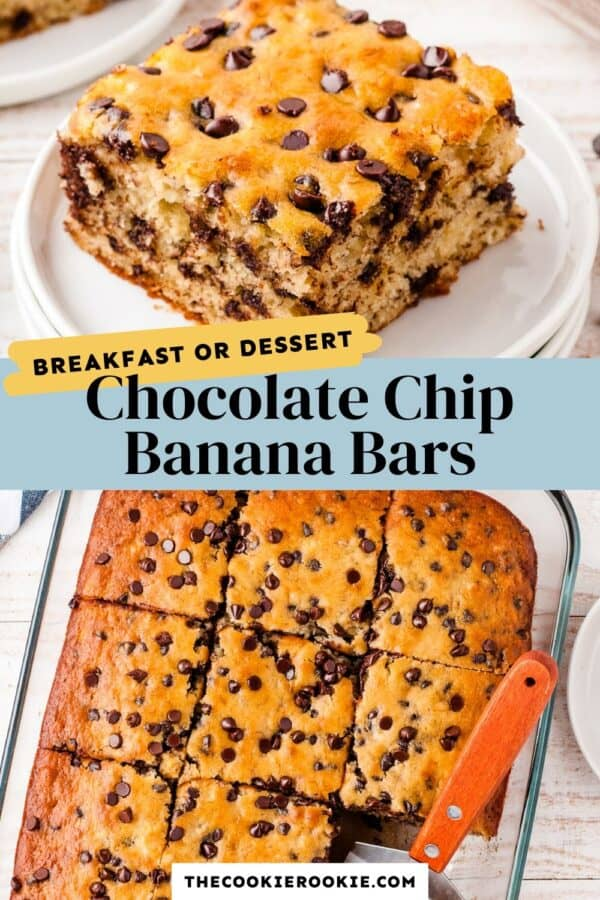 chocolate chip banana bars pinterest collage