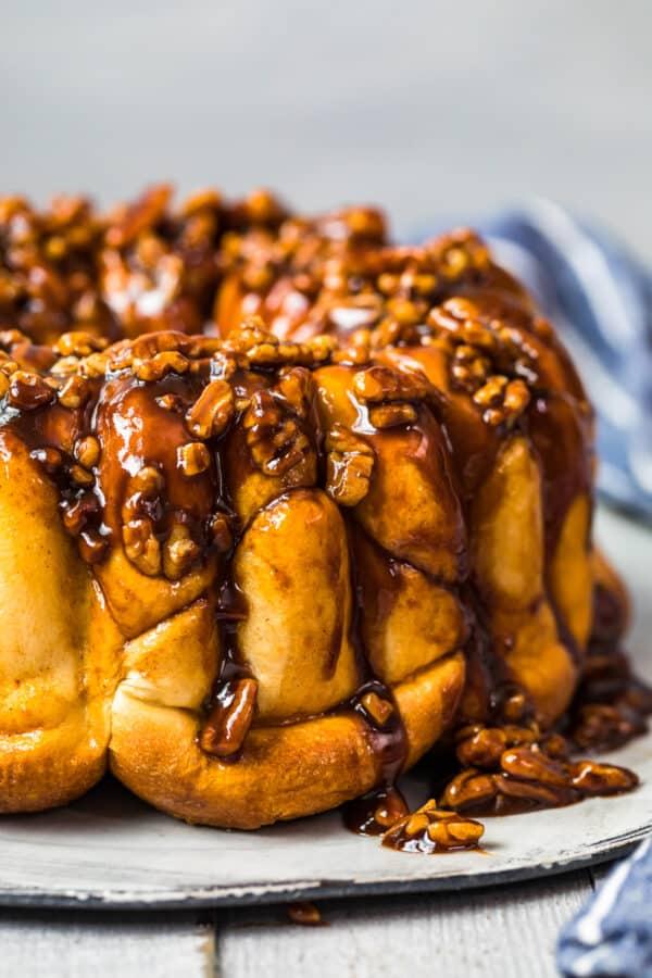 butterscotch monkey bread on platter