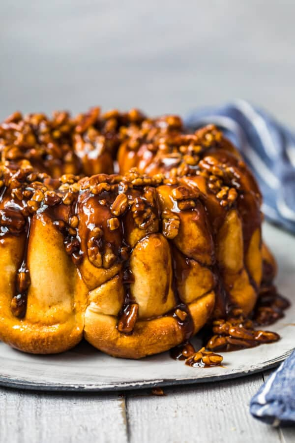 butterscotch bubble bread with pecans on plate