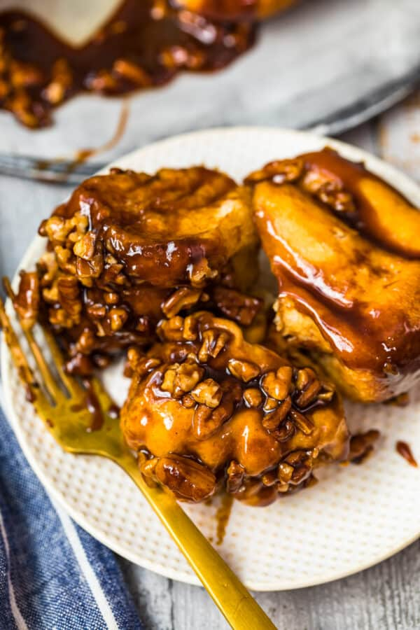 three slices of butterscotch monkey bread on plate