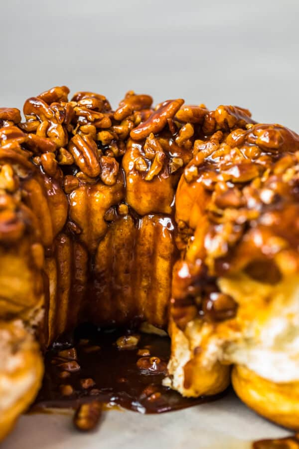 inside of monkey bread with butterscotch and pecans