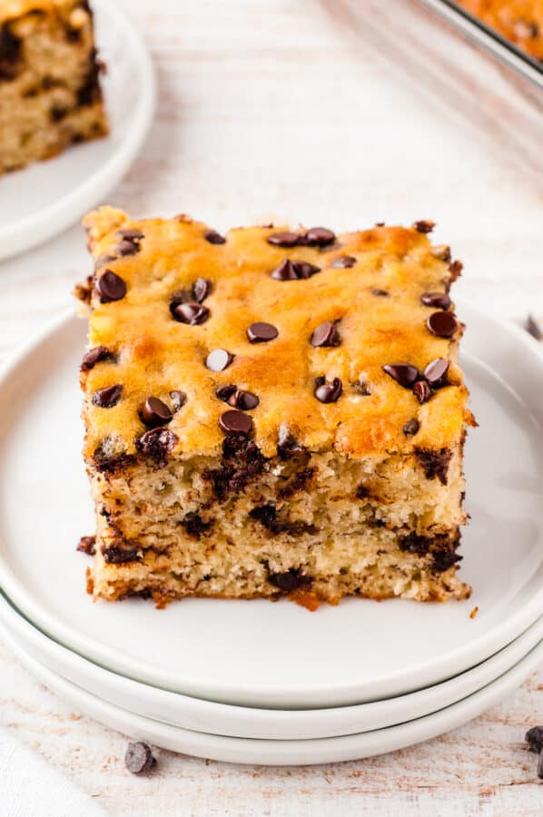 banana bar on plate with chocolate chips