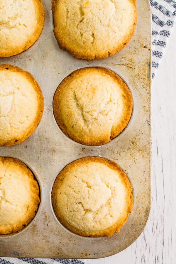 cornbread muffins in baking pan