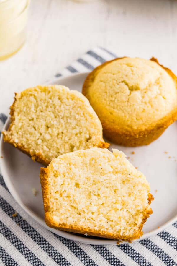 cornbread muffin cut in half