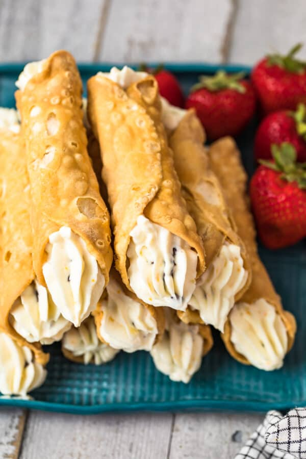 overhead image of cannolis filled with homemade cannoli cream