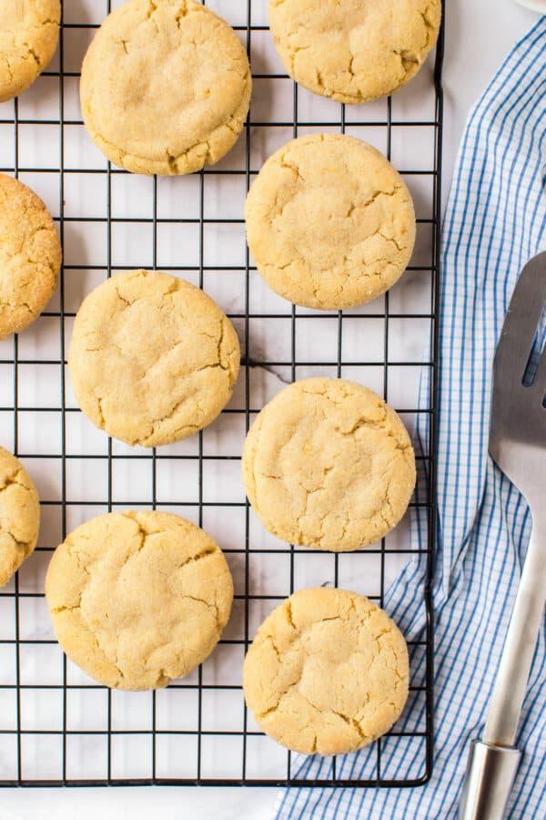 sugar cookies cooling on rack