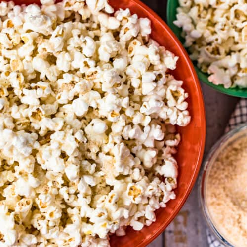 homemade kettle corn in brightly colored bowls