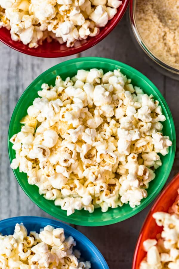up close image of homemade kettle corn in green bowl