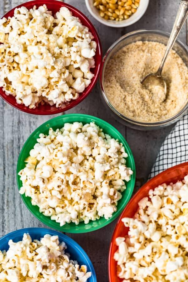 kettle corn in bowls