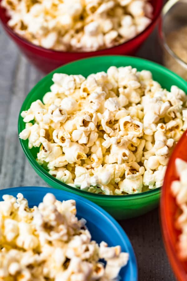side image of kettle corn in bright bowls