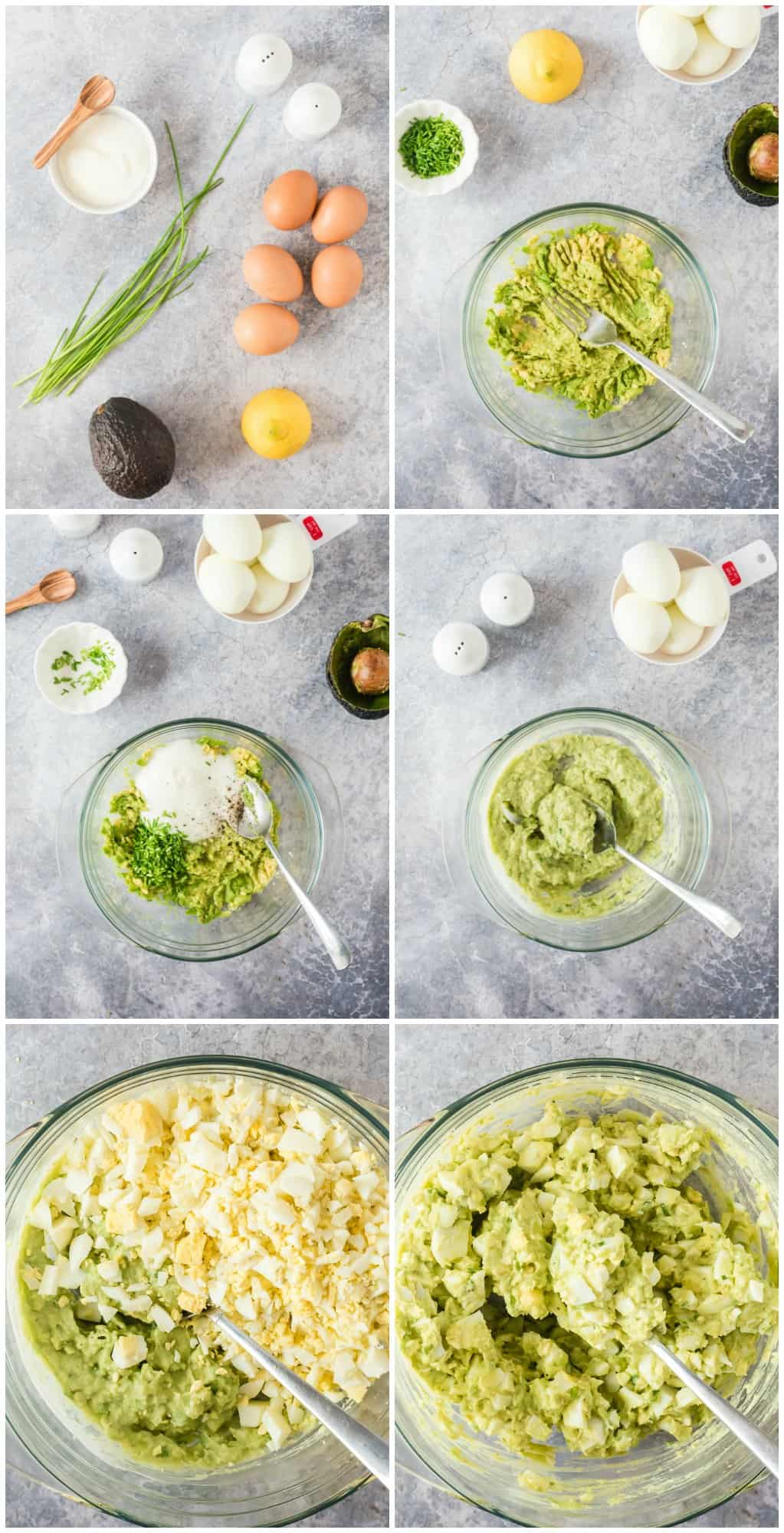 step by step photos of how to make avocado egg salad