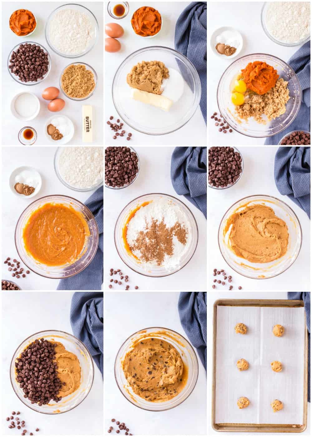 step by step photos of how to make pumpkin chocolate chip cookies