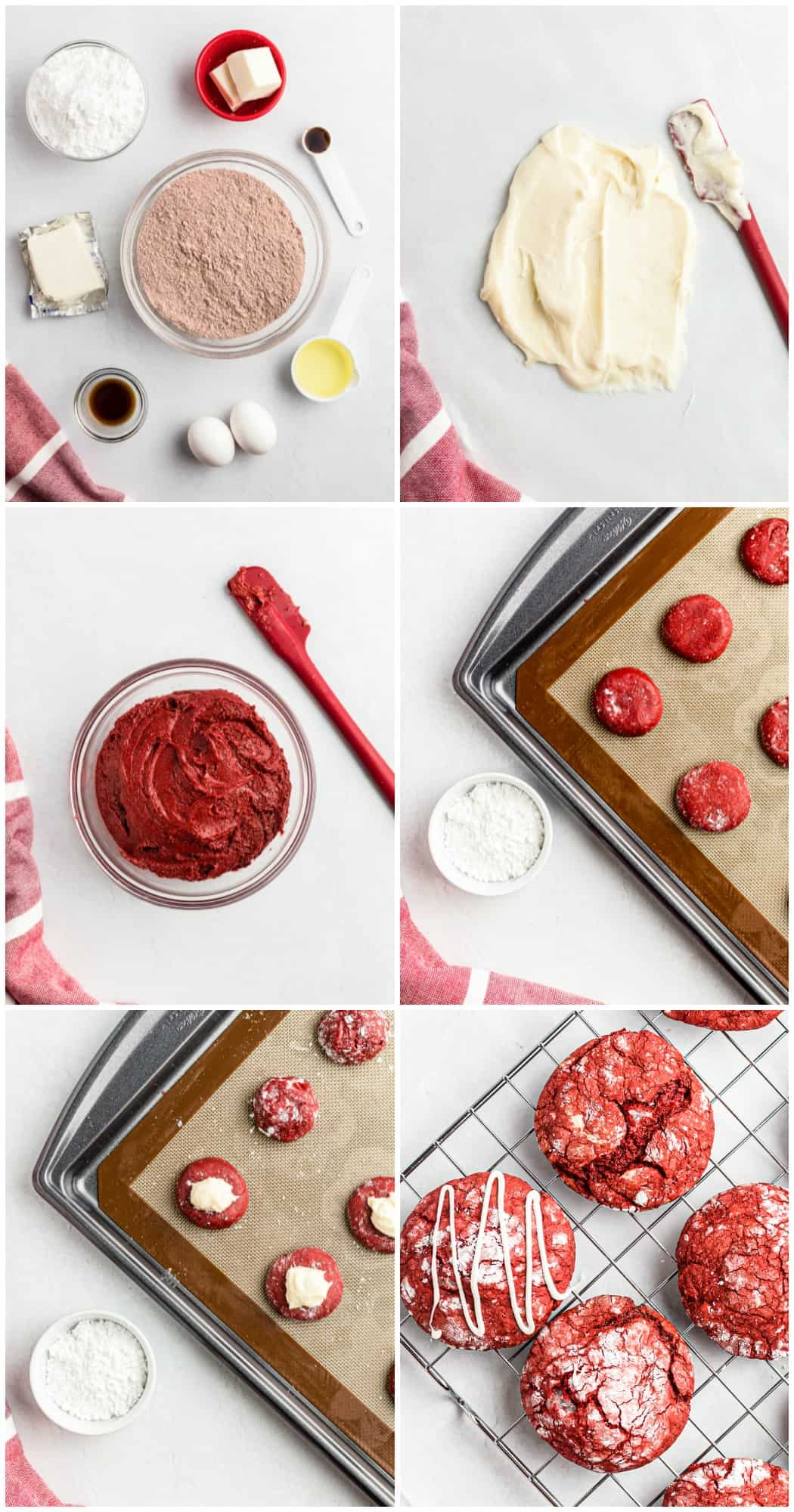 step by step photos of how to make red velvet cookies